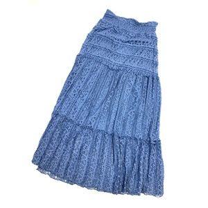 Denim Blue Lace Maxi Skirt